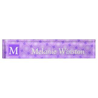 Monogram purple circles pattern nameplate