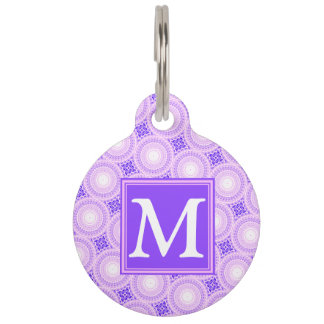 Monogram purple circles pattern pet name tag