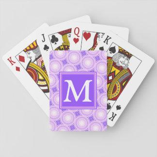 Monogram purple circles pattern playing cards