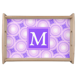 Monogram purple circles pattern serving tray
