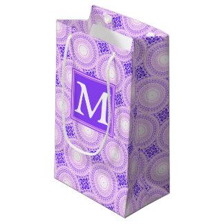 Monogram purple circles pattern small gift bag