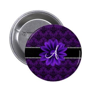 Monogram purple damask daisy flower 2 inch round button