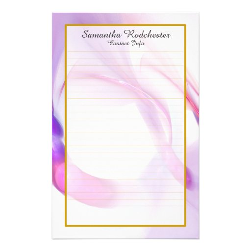 Monogram Purple Feather Ring Lined Stationery