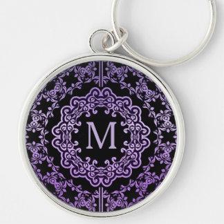 Monogram Purple Filigree Motif Key Chain