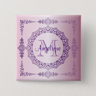 Monogram Purple Frame Fancy Lace Girly Jewel Lilac 2 Inch Square Button
