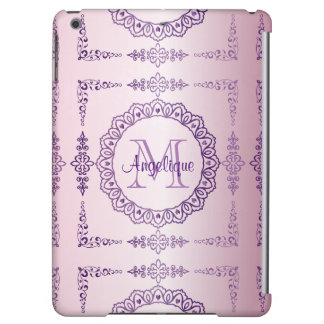 Monogram Purple Frame Fancy Lace Girly Jewel Lilac Case For iPad Air