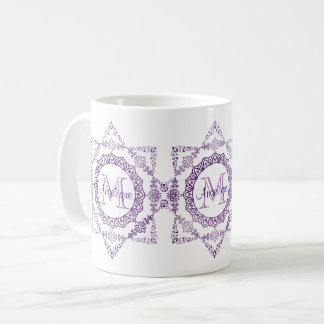 Monogram Purple Frame Fancy Lace Girly Jewel Lilac Coffee Mug