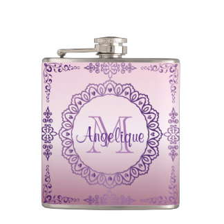 Monogram Purple Frame Fancy Lace Girly Jewel Lilac Hip Flask