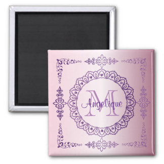 Monogram Purple Frame Fancy Lace Girly Jewel Lilac Magnet