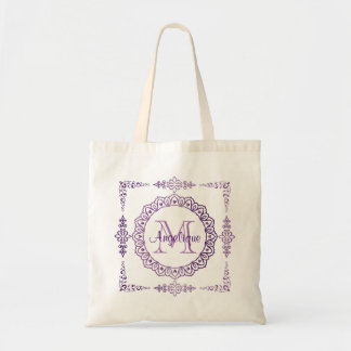Monogram Purple Frame Fancy Lace Girly Jewel Lilac Tote Bag