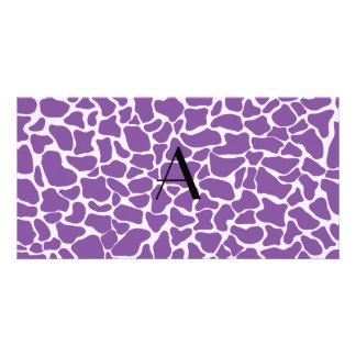 Monogram purple giraffe print customized photo card