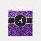 Monogram purple glitter black high heels bow fleece blanket