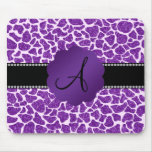 Monogram purple glitter giraffe print mouse pad