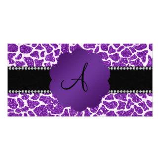 Monogram purple glitter giraffe print picture card
