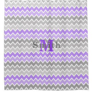 Monogram Purple Grey Gray Ombre Chevron Girl