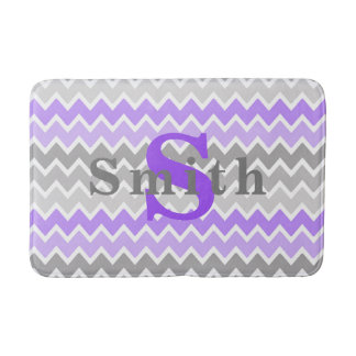 Monogram Purple Grey Gray Ombre Chevron Girl Bath Mat
