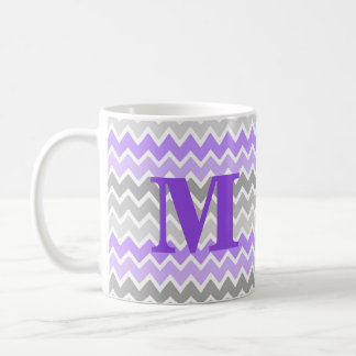 Monogram Purple Grey Gray Ombre Chevron Pattern Coffee Mug