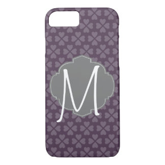 Monogram Purple Heart With Vintage Label iPhone 7 Case