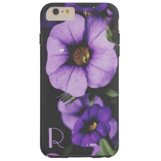 Monogram Purple, Lavender Petunia Flower Blossoms Tough iPhone 6 Plus Case