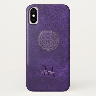 Monogram Purple Leather Celtic Knot iPhone X Case