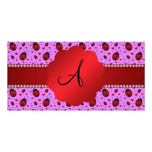 Monogram purple pastel ladybug hearts pattern personalized photo card