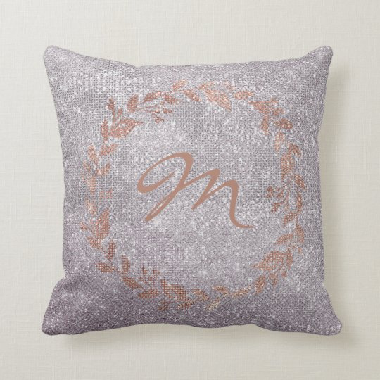 Monogram Purple Pink Rose Gold  Wreath Sequin Throw Pillow