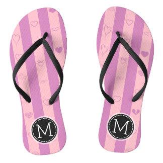 Monogram Purple Pink Stripes Modern Heart Pattern Flip Flops