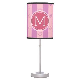 Monogram Purple Pink Stripes Modern Heart Pattern Table Lamp