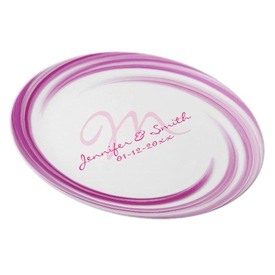 Monogram Purple Pink Swirl Pattern Plate