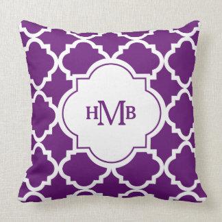 Monogram Purple Quatrefoil Pattern Throw Pillow