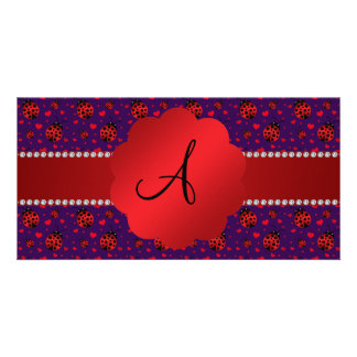 Monogram purple red ladybugs hearts photo card template