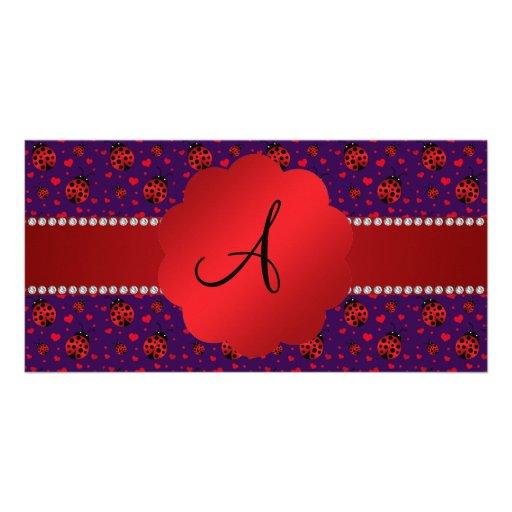 Monogram purple red ladybugs hearts photo card template
