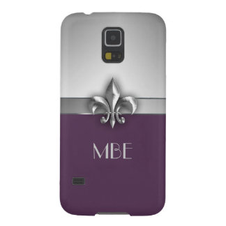 Monogram Purple Silver Faux Metal Fleur de Lis Galaxy S5 Cases