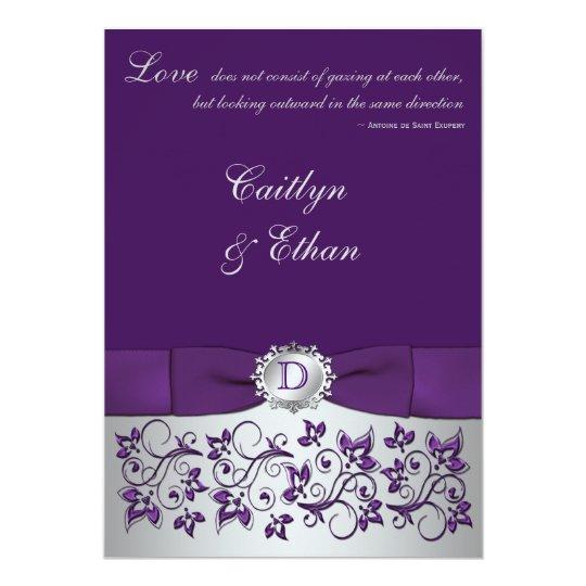 monogram purple  silver floral wedding invitation