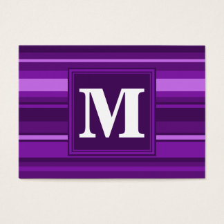 Monogram purple stripes business card