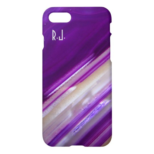 Monogram Purple Stripes Nature Agate Stone Cases