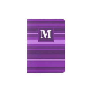 Monogram purple stripes passport holder