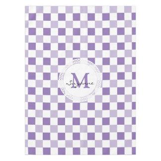 Monogram Purple Tone White Checkered Pattern Tablecloth