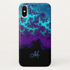 Monogram Purple Turquoise Fractal iPhone X Case