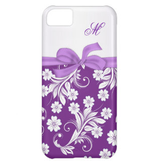 Monogram Purple white floral swirls Cover For iPhone 5C
