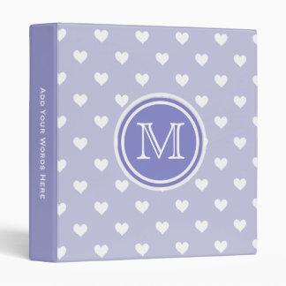 Monogram: Purple White Heart Chevron Binder