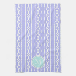 Monogram: Purple White Stripes Towel