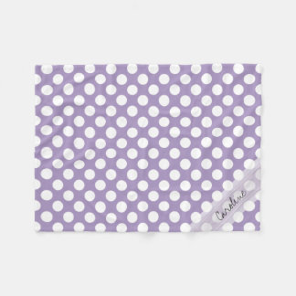 Monogram Purple White Trendy Fun Polka Dot Pattern Fleece Blanket