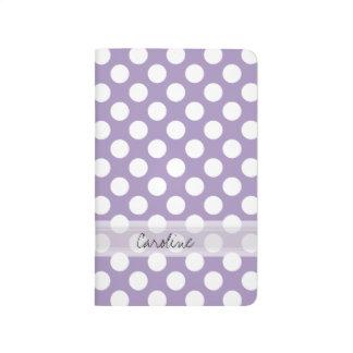 Monogram Purple White Trendy Fun Polka Dot Pattern Journal