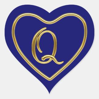 Monogram Q in 3D gold Heart Sticker