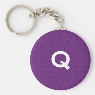 Monogram Q or Any Initial Purple 3D Effect C311 Keychain