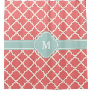 Monogram Quatrefoil Coral Mint Pattern
