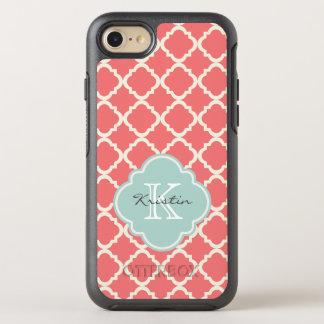 Monogram Quatrefoil Coral Mint Pattern OtterBox Symmetry iPhone 8/7 Case