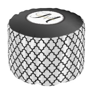 Monogram Quatrefoil in Black and White Pouf