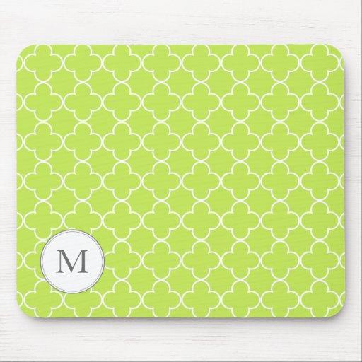 Monogram Quatrefoil mouse pad - lime